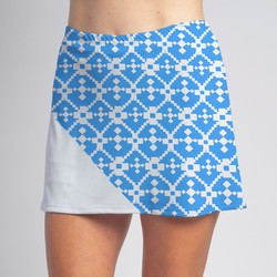 Bias Skort - Turquoise Geometric with White