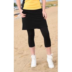 Golf/Walking Zipper Pocket Skort with Capri Pant - Black Solid