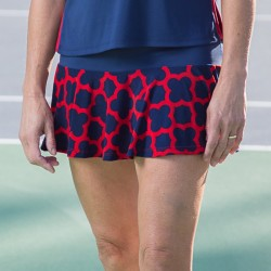 Flounce Skort - Navy/Red Medallion with Navy