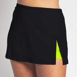 Side Slit Skort - Black Solid with Neon Shorts