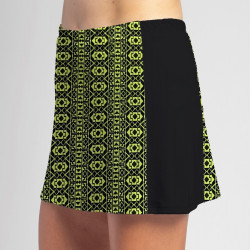 Slimming Panel Skort - Lime Geometric with Black side panels