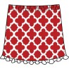 Ruffle Skort - Red Medallion w/White Ruffle