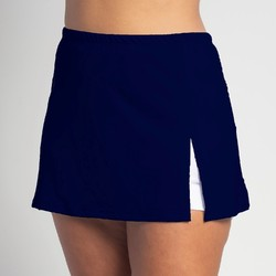 Side Slit Skort - Navy Solid w/ White Shorts