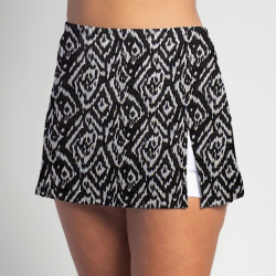 Side Slit Skort - Tribal - White Shorts