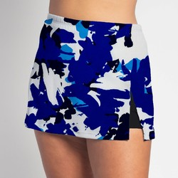 Side Slit Skort - Columbine Splash w/ Black Shorts