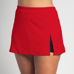 Side Slit Skort - Red Solid - Black Shorts