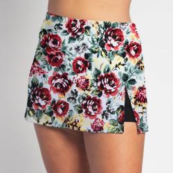 Side Slit Skort - Roses w/ Black Shorts