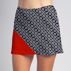 Bias Skort - BW Criss Cross with Red