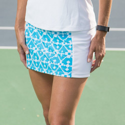 Slimming Panel Skort - Turquoise Geometric with White