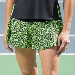 Flounce Skort - Lime Geometric with Black