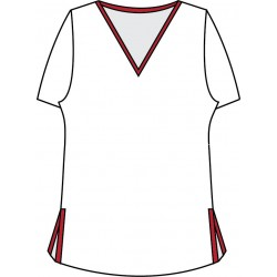 Short Sleeve Tee - White w/Red Trim