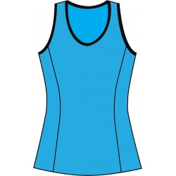 Scoop Neck Tank Top - Turquoise with Black Trim